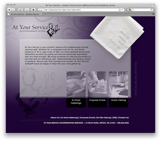 at your service homepage