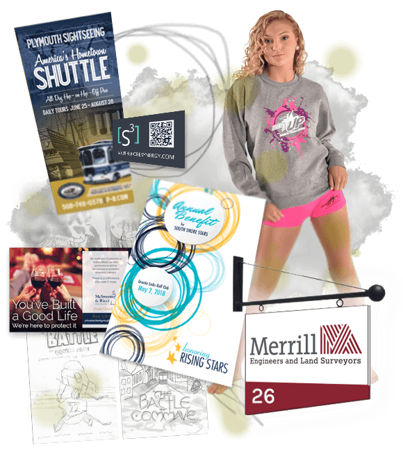 collage of graphic design samples: sketching, Battle of Comm Ave Poster sketches, America's Hometown shuttle brochure, S3 business card, Turn It Up Sweatshirt graphic on model, McSweeney & Ricci print ad, South Shore Stars Gala Program cover, Merrill signage