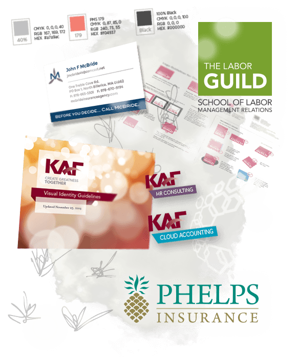 Collage of branding elements: sketches, pantone color swatches, McBride Insurance Business Card, Labor Guild logo guidelines, Labor Guild School of Labor logo, KAF Identity Guidelines Cover, KAF division logos, Phelps Insurance Logo